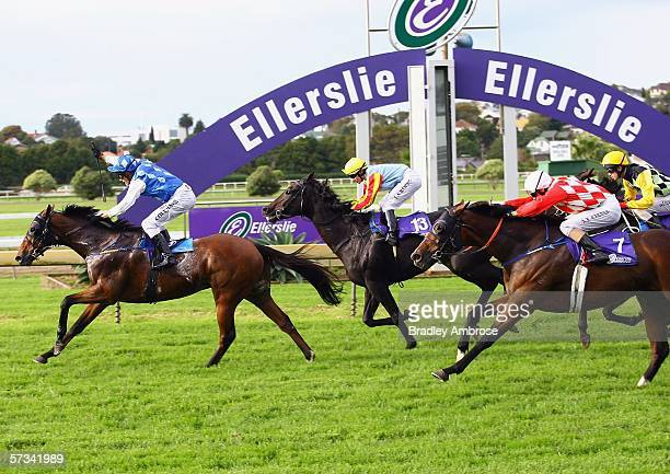 Rags To Riches ridden by Michael Coleman crosses the finish line to win the Easter Handicap at the Ellerslie Races April 15 2006 in Auckland New...