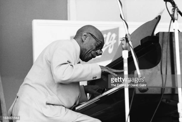 Ragtime pianist Eubie Blake performs at the Newport Jazz Festival in July 1971 in Newport Rhode Island