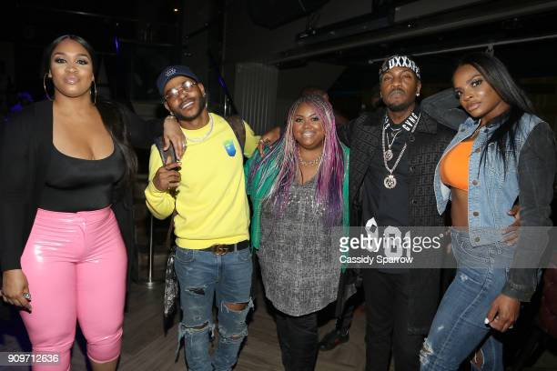 Rah Ali Eric Bellinger Echo Hattix Grafh and Brooke Bailey Attend The Eric Bellinger Grammy Week Lounge Lounge at Suite 36 on January 23 2018 in New...