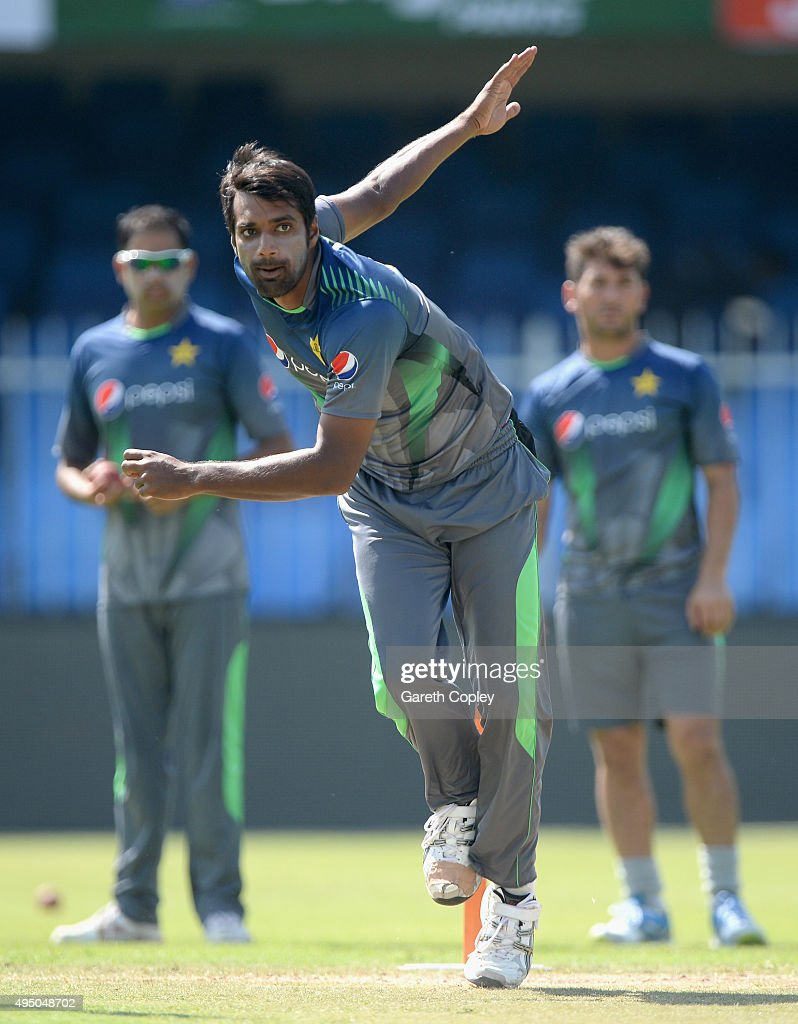 Rahat Ali of Pakistan bowls during a nets session at Sharjah Cricket Stadium on October 31, 2015 in Sharjah, United Arab Emirates.