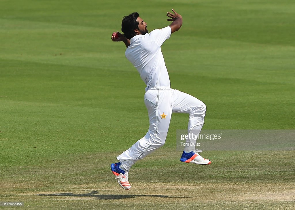 Rahat Ali of Pakistan bowls during Day Five of the Second Test between Pakistan and West Indies at Zayed Cricket Stadium on October 25, 2016 in Abu Dhabi, United Arab Emirates.