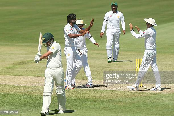 Rahat Ali of Pakistan celebrates after dismissing Jake Winter of Cricket Australia XI during the tour match between Cricket Australia XI and Pakistan...