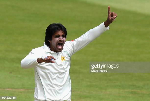 Rahat Ali of Pakistan celebrates after taking the wicket of Ben Duckett during the tour match between Northamptonshire and Pakistan at The County...