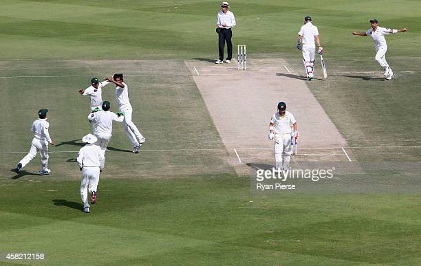 Rahat Ali of Pakistan celebrates after taking the wicket of David Warner of Australia during Day Two of the Second Test between Pakistan and...
