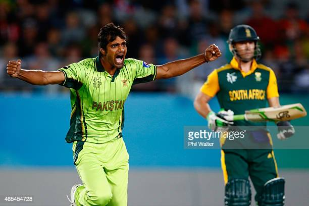 Rahat Ali of Pakistan celebrates his wicket of Kyle Abbott of South Africa during the 2015 ICC Cricket World Cup match between South Africa and...
