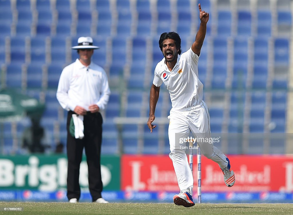 Rahat Ali of Pakistan celebrates taking the wicket of Darren Bravo of West Indies during Day Four of the Second Test between Pakistan and West Indies at Zayed Cricket Stadium on October 24, 2016 in Abu Dhabi, United Arab Emirates.
