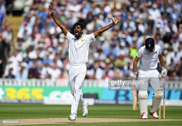 Rahat Ali of Pakistan successfully appeals for the wicket of England captain Alastair Cook during day one of the 3rd Investec Test between England...