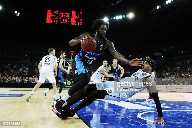 Raheem Christmas of the Breakers storms over Josh Boone of United during game two of the NBL semi final series between Melbourne United and the New...