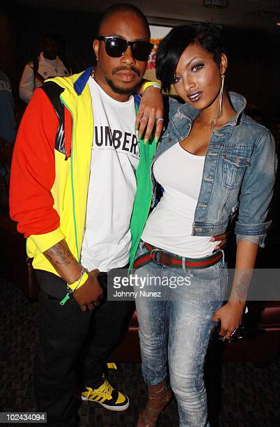 Raheem DeVaughn and Angel Lola Luv attend Bottles Strikes Tuesday at Chelsea Piers on June 8 2010 in New York City