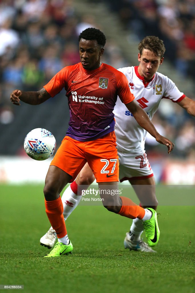 Raheem Hanley of Northampton Town controls the ball during the Sky Bet League One match between Milton Keynes Dons and Northampton Town at StadiumMK on September 26, 2017 in Milton Keynes, England.