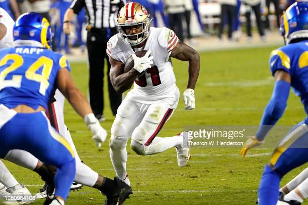 Raheem Mostert of the San Francisco 49ers carries the ball against the Los Angeles Rams during the second quarter at Levi's Stadium on October 18,...