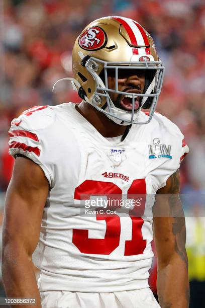 Raheem Mostert of the San Francisco 49ers celebrates after a touchdown against the Kansas City Chiefs during the third quarter in Super Bowl LIV at...