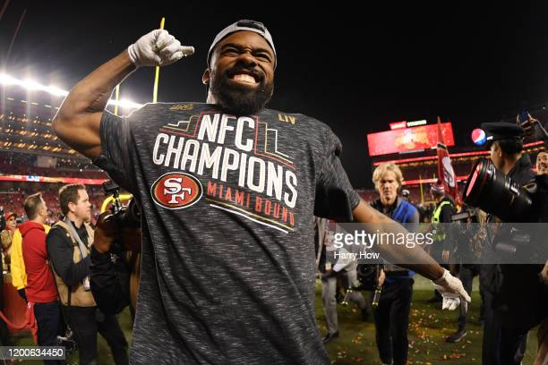 Raheem Mostert of the San Francisco 49ers celebrates after winning the NFC Championship game against the Green Bay Packers at Levi's Stadium on...