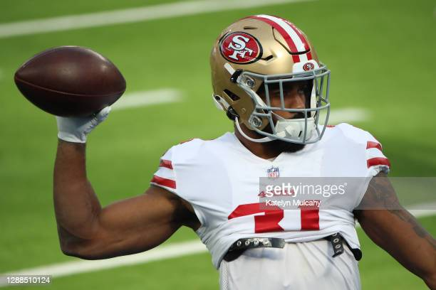 Raheem Mostert of the San Francisco 49ers warms up before the game against the Los Angeles Rams at SoFi Stadium on November 29, 2020 in Inglewood,...