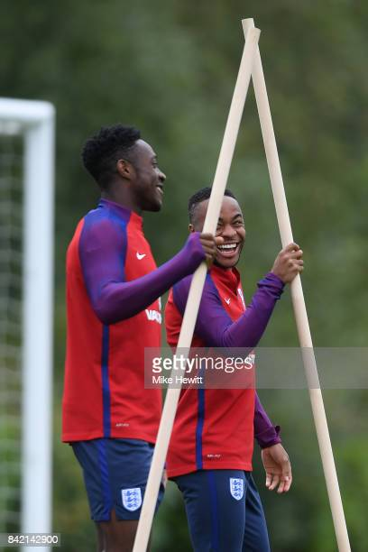 Raheem Sterling and Danny Welbeck take part in an England Training Session at the Tottenham Hotspur training ground on September 3 2017 in Enfield...