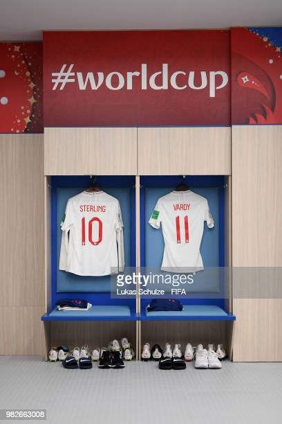 Raheem Sterling and Jamie Vardy's shirts hang in the England dressing room prior to the 2018 FIFA World Cup Russia group G match between England and...