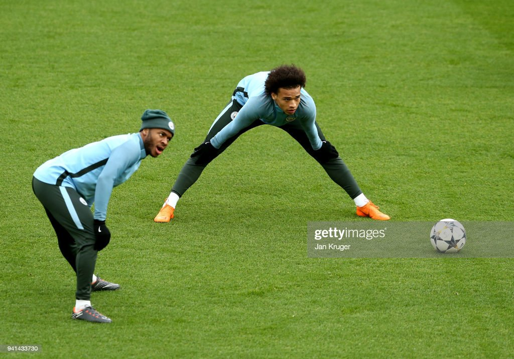 Raheem Sterling and Leroy Sane of Manchester City in action during the teams training session prior to the UEFA Champions League quater final 1st leg at Anfield on April 3, 2018 in Liverpool, England.