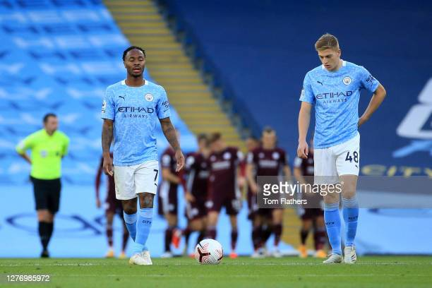 Raheem Sterling and Liam Delap of Manchester City look dejected during the Premier League match between Manchester City and Leicester City at Etihad...