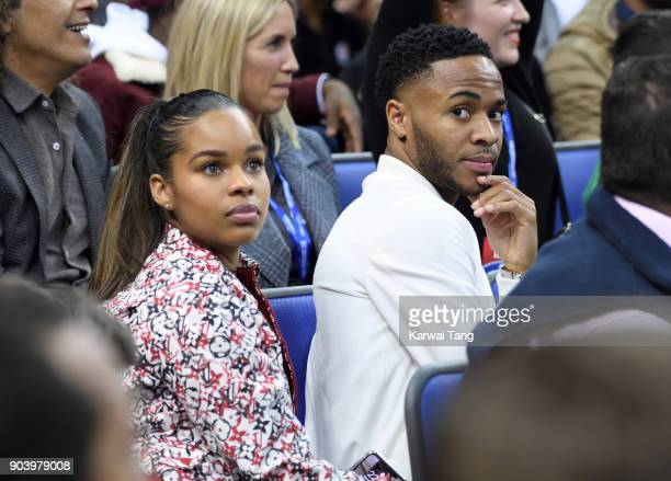 Raheem Sterling and Paige Milian attend the Philadelphia 76ers and Boston Celtics NBA London game at The O2 Arena on January 11 2018 in London England