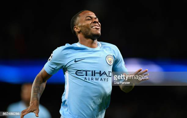 Raheem Sterling celebrates after scoring the opening goal for Manchester City during the UEFA Champions League group F match between Manchester City...