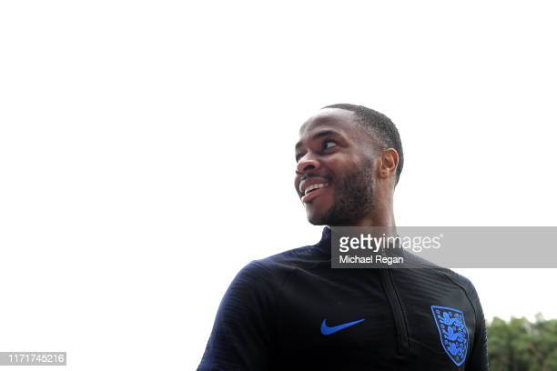 Raheem Sterling during an England Media Access day at St Georges Park on September 02, 2019 in Burton-upon-Trent, England.