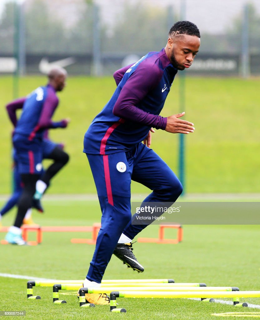 Raheem Sterling during Manchester City training at Etihad Campus on August 11, 2017 in Manchester, England.