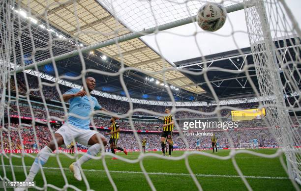 "Raheem Sterling follows the ball into the net but City""u2019s 2nd goal was credited to Gabriel Jesus during the Manchester City v Watford F.A. Cup..."