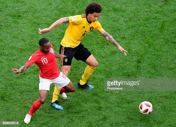 Raheem Sterling forward of England Axel Witsel midfielder of Belgium during the FIFA 2018 World Cup Russia Playoff for third place match between...