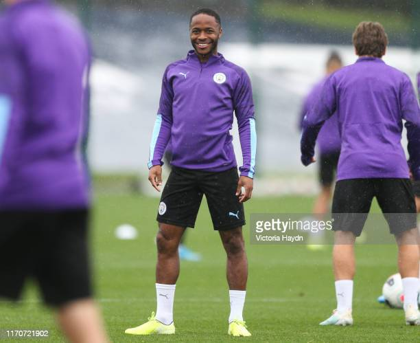 Raheem Sterling in action at Manchester City Football Academy on August 28 2019 in Manchester England
