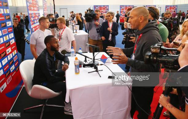 Raheem Sterling is interviewed by media during an England media session at St Georges Park on June 5 2018 in BurtonuponTrent England