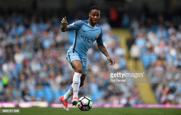 Raheem Sterling of City in action during the Premier League match between Manchester City and Hull City at Etihad Stadium on April 8 2017 in...