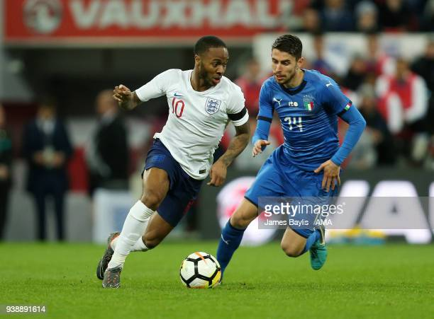 Raheem Sterling of England and Frello Filho of Italy during the International Friendly match between England and Italy at Wembley Stadium on March...