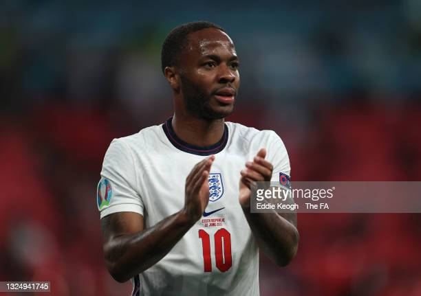 Raheem Sterling of England applauds the fans after the UEFA Euro 2020 Championship Group D match between Czech Republic and England at Wembley...