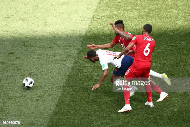 Raheem Sterling of England battles for possession with Anibal Godoy and Gabriel Gomez of Panama during the 2018 FIFA World Cup Russia group G match...