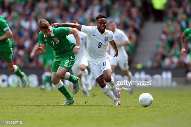 Raheem Sterling of England battles with Seamus Coleman of Ireland during the International Friendly match between the Republic of Ireland &...