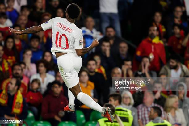 Raheem Sterling of England celebrate his goal the 01 during the UEFA Nations league match between Spain v England at the Estadio Benito Villamarin on...