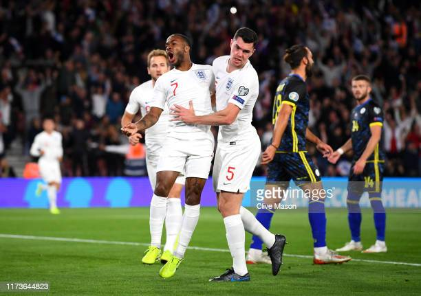 Raheem Sterling of England celebrates after he scores his sides first goal during the UEFA Euro 2020 qualifier match between England and Kosovo at St...