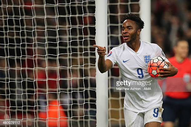 Raheem Sterling of England celebrates after scoring a goal to make it 20 during the UEFA Euro 2016 Qualifier match between England and Estonia at...