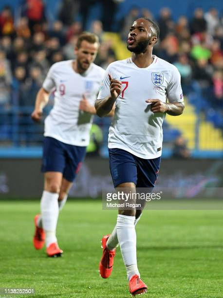 Raheem Sterling of England celebrates after scoring his team's fifth goal during the 2020 UEFA European Championships Group A qualifying match...
