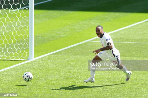 Raheem Sterling of England celebrates after scoring their 1st goal during the UEFA Euro 2020 Championship Group D match between England and Croatia...