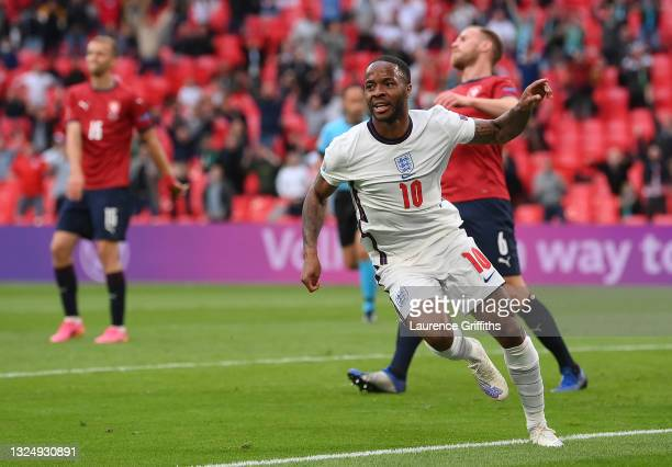 Raheem Sterling of England celebrates after scoring their team's first goal during the UEFA Euro 2020 Championship Group D match between Czech...