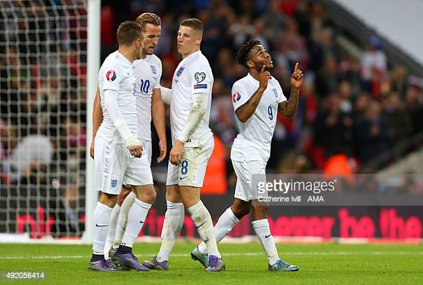 Raheem Sterling of England celebrates after scoring to make it 20 during the UEFA EURO 2016 Qualifier match between England and Estonia at Wembley...