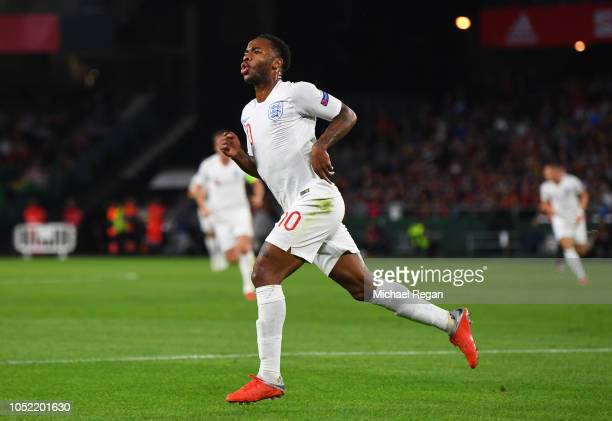 Raheem Sterling of England celebrates as he scores his team's first goal during the UEFA Nations League A Group Four match between Spain and England...