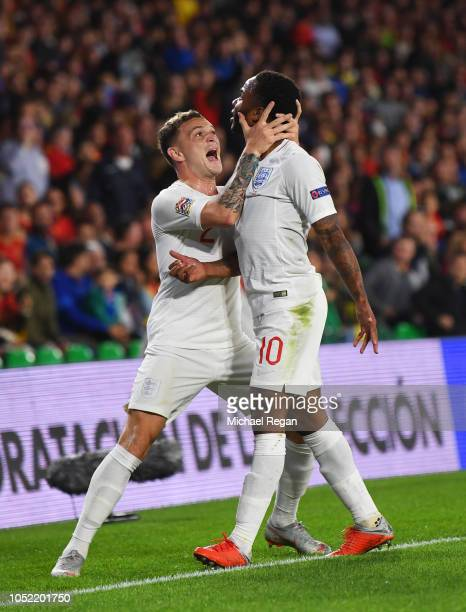 Raheem Sterling of England celebrates as he scores his team's first goal with Kieran Trippier of England during the UEFA Nations League A Group Four...