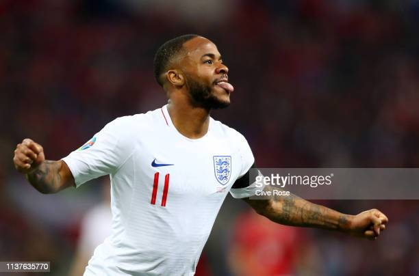 Raheem Sterling of England celebrates as he scores his team's fourth goal and completes his hat trick during the 2020 UEFA European Championships...