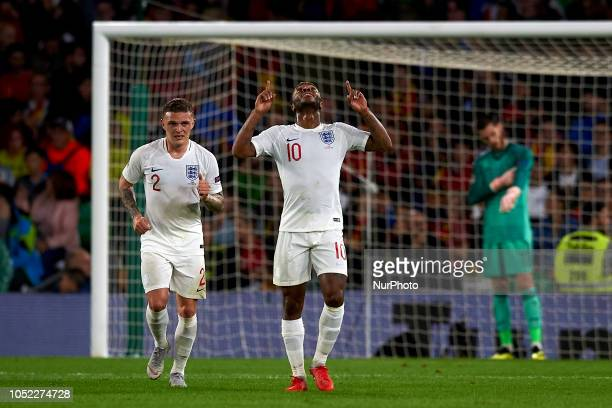 Raheem Sterling of England celebrates goal during the UEFA Nations League football match between Spain and England at Benito Villamarin Stadium in...