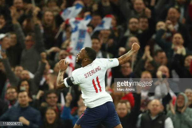 Raheem Sterling of England celebrates his 3rd goal during the 2020 UEFA European Championships group A qualifying match between England and Czech...