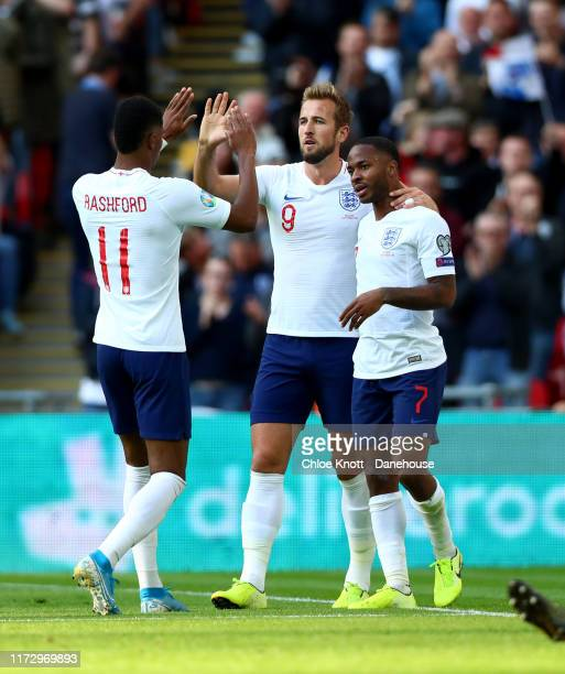 Raheem Sterling of England celebrates scoring his teams third goal during the UEFA Euro 2020 qualifier match between England and Bulgaria at Wembley...
