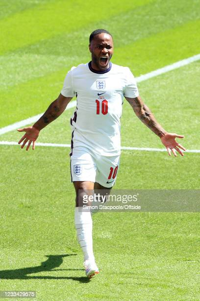 Raheem Sterling of England celebrates scoring the opening goal during the UEFA Euro 2020 Championship Group D match between England and Croatia at...