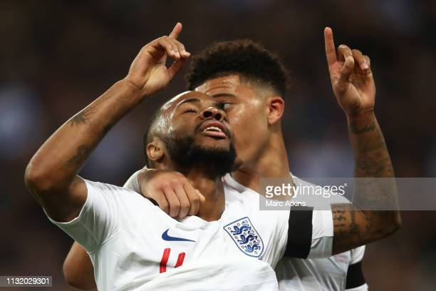 Raheem Sterling of England celebrates the 3rd goal with Jadon Sancho during the 2020 UEFA European Championships group A qualifying match between...